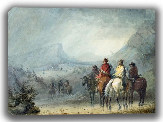Miller, Alfred Jacob: Storm - Waiting for the Caravan. Fine Art Canvas. Sizes: A4/A3/A2/A1 (003817)